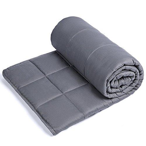 Anjee-vägd filt för överviktad individ 110-160 KG, tung sensorisk filt Förbättrar sömn och avkoppling, perfekt present för kvinnor män barn (150 x 200 cm, grå)
