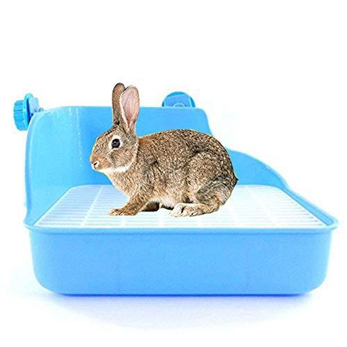 BIGBIGWORLD Pet Clean Toilette Ecktoilette für Kaninchen, Kleintiere, Doppelmaschiges Töpfchen, Anti-Spray Urin, blau