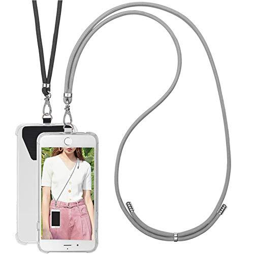 COCASES 2 Pieza Cadena de Teléfono Celular Universal, Cordón Correa para el Cuello Compatible con iPhone/Samsung/Huawei (Negro+Gris)