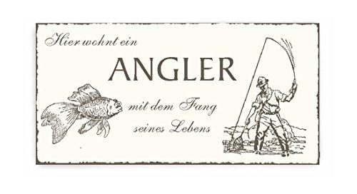TÜRSCHILD « Hier wohnt ein ANGLER mit dem FANG seines LEBENS » Vintage Shabby Dekoschild Holzschild Schild selbstklebend - Fischer Angeln