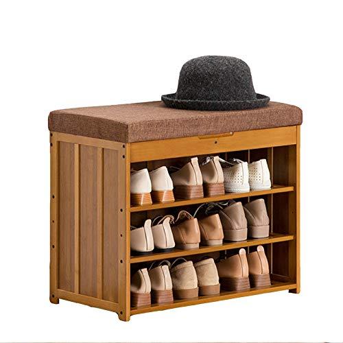 HENDA Taburete para Cambiar Zapatos de 3 Capas, Espacio de Almacenamiento Oculto, 4 especificaciones, Utilizado para Sala de Estar, Dormitorio, Entrada al Pasillo 48 * 30 * 60 cm