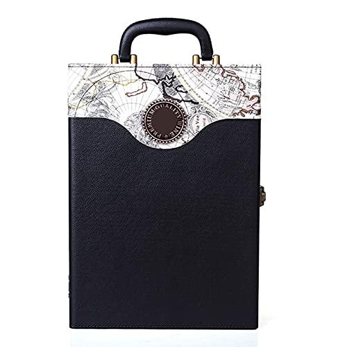 SGSDG Cuero PU Blanco Negro Caja De Botella De Vino Dos Vinos De CuadríCula PortáTil Hecho A Mano Caja de Vino Lujoso Caja de Regalo de Vino con 3 Sacacorchos del Vino Accesorios
