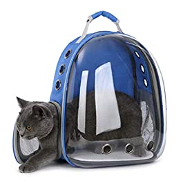 ER-JI Pet Backpack Space Capsule Transparent Dog Handbag Travel Hiking Camping Portable Cleaning Cat Bag