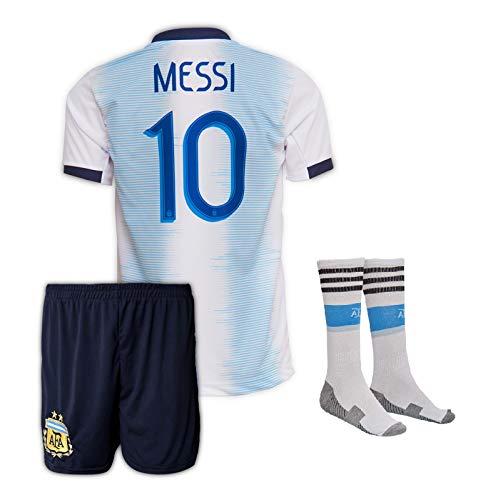 Argentinien Messi #10 Trikot Set 2019/20 Heim Kinder Fussball Trikot Mit Shorts Und Socken (7-8 Jahre)