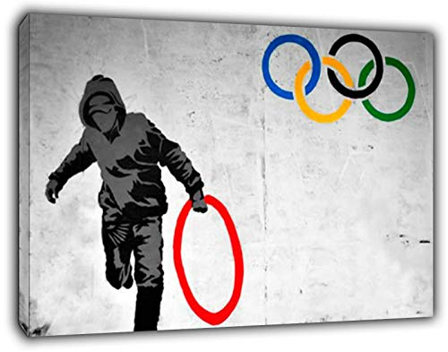 Banksy Olympic Rings Thug Reprint on Framed Canvas Wall Art Home Decoration 12''x 8''inch(30x 20 cm) -18mm Depth