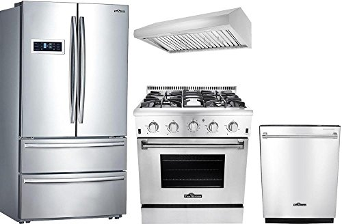 "4-Piece Stainless Steel Kitchen Package with HRF3601F 36"""" French Door Refrigerator HRG3080U 30"""" Freestanding Gas Range HDW2401SS 24"""" Fully Integrated Dishwasher and HRH3006U 30"""" Range Hood"