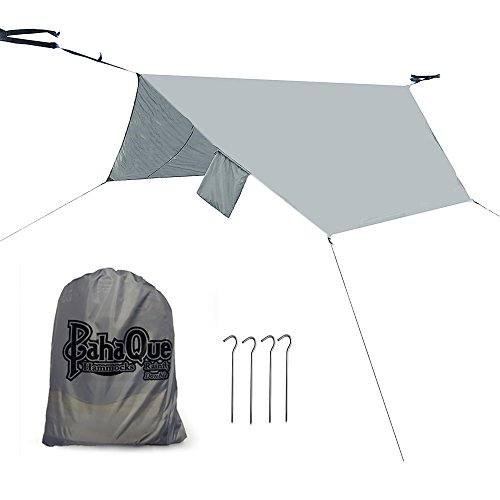 Paha Que Wilderness Hammock Rainfly – Lean-To Shelter – Lightweight Tarp –Oversized 12' x 8.5', Perfect for Camping, Backpacking, Gear Protection, Hammock Protection. Waterproof, Taped Seams, Grey, Double Hammock (HM20R)