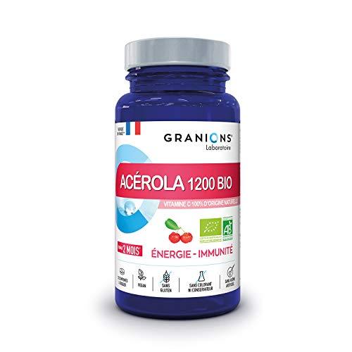 GRANIONS ACEROLA 1200 BIO - Vitamine C 100% d'origine naturelle hautement dosée - 255% des apports recommandés - Assimilation optimale - IMMUNITE ET ENERGIE - 30 comprimés à croquer - Made in France