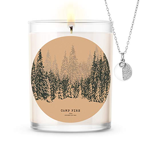 Kate Bissett Baubles Camp Fire Scented Premium Candle and Jewelry with Surprise Pendant Inside | 18 oz Large Candle | Fall Collection | Made in The USA | Parrafin Free Pendant
