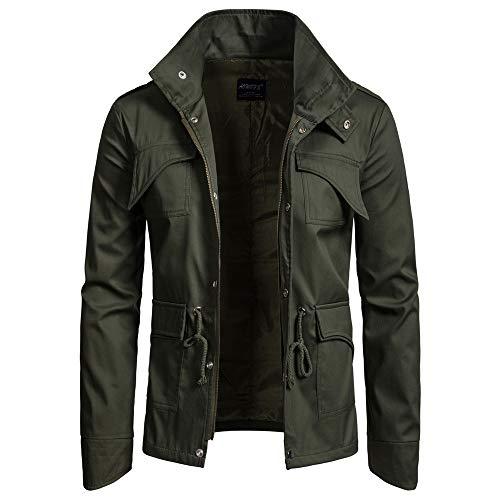 ZIYOU Herren Basic Jacke, Männer Outwear Stehkragen Slim fit Militär Jacke mit Reißverschluss Freizeit Übergangs Mäntel (EU-46 / CN-M,Armeegrün)