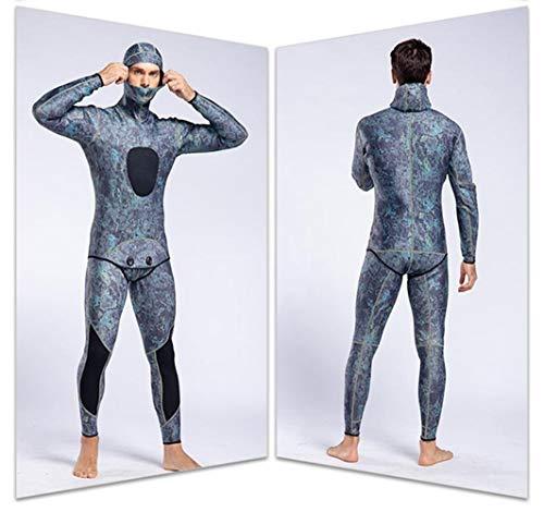 3MM de Buceo Trajes de Buceo for Hombres 2 Piezas de Manga Larga Mantenga Caliente Trajes de Pesca submarina Rash Guardias Surf Trajes de baño (Color : Stone Pattern, Size : S)