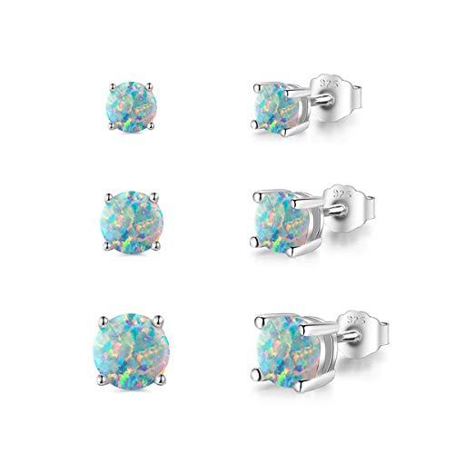 PHENIOTACE 3 Paires de Boucles D'oreilles Opale de Feu Bleue en Argent 925, Clous d'Oreilles Ronde 3mm 4mm 5mm, Bijoux pour les Femmes