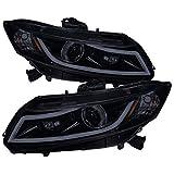 Carpartsinnovate For 12-15 Honda Civic Glossy Black Smoke Projector Headlights+LED DRL Bar