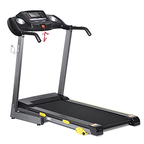 Folding Treadmill Electric Treadmill Motorized Running Machine 17'' Wide Tread Belt w/Incline LCD Display & Cup Holder - Easy Assembly w. 15 Preset Programs for Home Gym