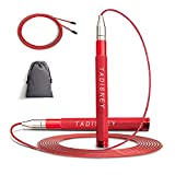 TADISNEY Jump Rope, High Speed Jump Ropes for Fitness Exercises CrossFit, with Premium Bearing and Aluminum Grips, Self-Locking Jumping Rope for Women Men for Double Unders Workout
