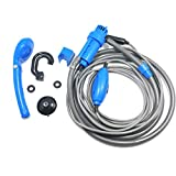 XINFULUK Universal Car Washer Set de Ducha Bomba eléctrica portátil Camping al Aire Libre Travel Car Washer Senderismo Pet Washer - Azul
