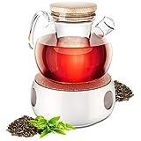 Carina Helmut Teekanne mit Stövchen, mit 750ml Fassungsvolumen, Teekanne mit Siebeinsatz für losen Tee, nachhaltig, hitzebeständig & modern, der ideale Teezubereiter für Ihr Zuhause