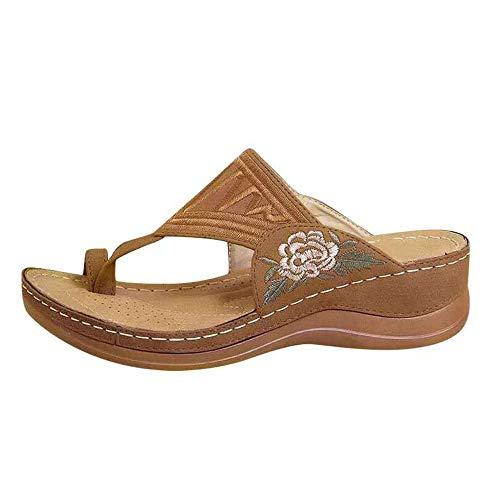 Nueva Moda Simple Bordado Sandalias De Flores Verano Cuña Talón Transpirable Chanclas Zapatillas De Mujer Clip Toe Zapatillas De Gran Tamaño Mujeres