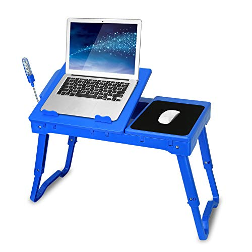 TeqHome Laptop Table for Bed, Adjustable Laptop Bed Desk with Fan, 4 USB Ports, Portable Lap Desk with Foldable Legs, Laptop Stand for Couch Sofa Bed Tray with LED Light, Storage, Mouse Pad - Blue