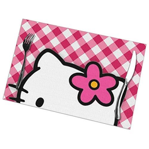 Kay Sam Manteles Individuales Hello Hello Kitty Mantel Individual Lavable Juego de 6 para Mesa de Comedor