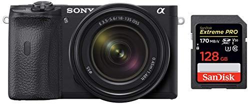 Sony Alpha ILCE 6600M 24.2 MP Mirrorless Digital SLR Camera with 18-135 mm Zoom Lens + SanDisk 128GB Extreme Pro SDXC UHS-I Card – C10, U3, V30, 4K UHD, SD Card