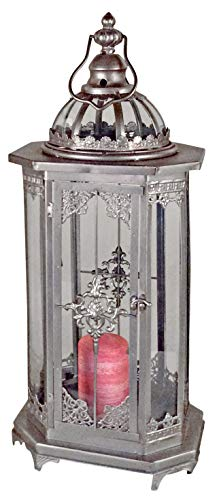 dekojohnson decoratieve lantaarn van metaal lamp vintage antiek zilver vloerlantaarn windlicht retro metalen dak rustiek outdoor vierkant 24x20x56cm groot