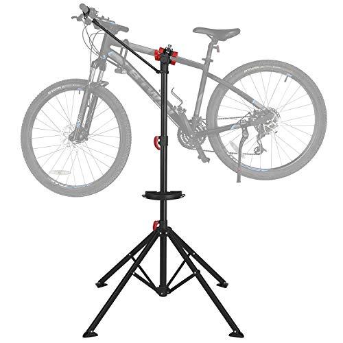 Yaheetech Caballete para Bicicleta Soporte de Reparación Plegable con Bandeja Magnética Altura Ajustable para Bicicleta Montaña Carretera para Taller