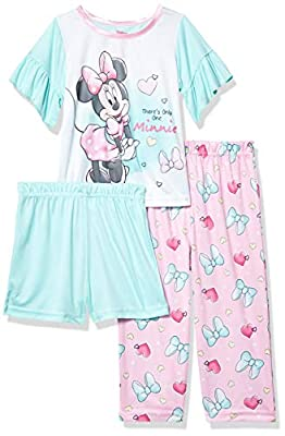 Disney Baby Girls' Minnie Mouse 3-Piece Pajama Set, Only One, 3T