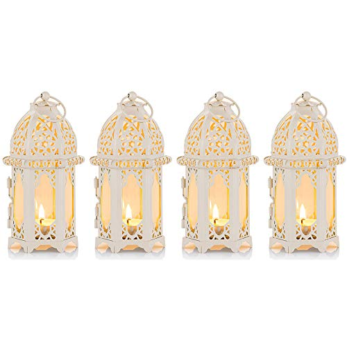 Nuptio 4 Pcs Moroccan Style Candle Lantern, Small Sized Tealight Candle Holder with Transparent Glass Panels Great for Patio, Indoors/Outdoors, Events, Parties and Weddings, White