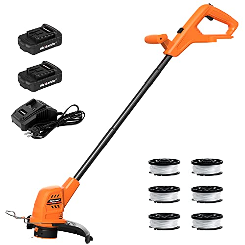 MAXLANDER Cordless String Trimmer / Weed Wacker 10 inch with 2 PCS 20V 2.0Ah Batteries, Detachable Weed Eater with 1 PCS Quick Charger & 6 PCS Replacement Spool Trimmer Lines, Lightweight Weed Edger