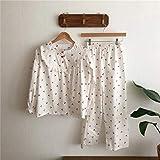 FLORVEY Pijama Otoño Nuevo Ruffle Lattice Lovely Cardigan Pantalones de Manga Larga Algodón Homewear Set Mujeres Dulce de Solapa