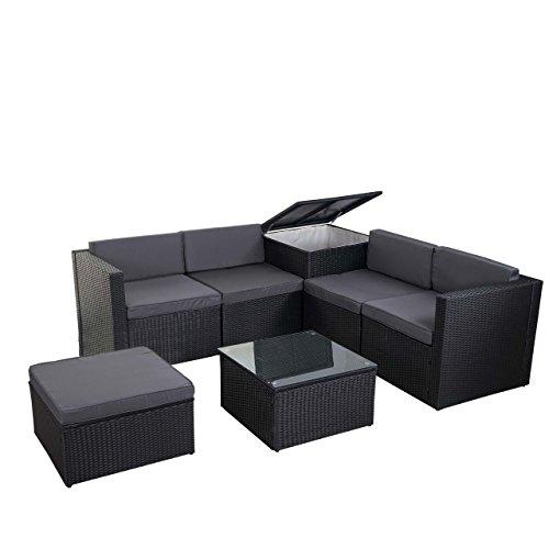 Mendler Poly-Rattan-Garnitur HWC-D21, Balkon-/Garten-/Lounge-Set Sofa Sitzgruppe, Box Staufach - anthrazit, Kissen dunkelgrau