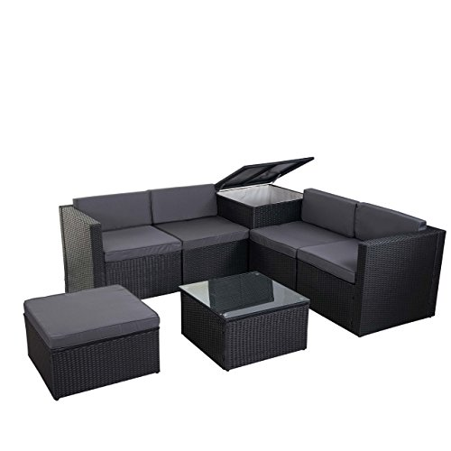 Mendler Poly-Rattan-Garnitur HWC-D21, Gartengarnitur Sofa Set ~ anthrazit, Kissen grau ohne Deko-Kissen