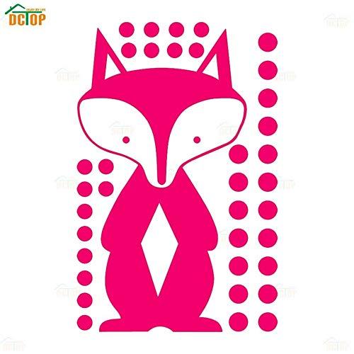 GSXDBD Wall Sticker Kulay Fox Circle Dots Cartoon Animal Decal Wall Sticker Para sa Kid Nursery Silid-tulugan Modernong Home Decor Hindi tinatagusan ng tubig Wallpaper