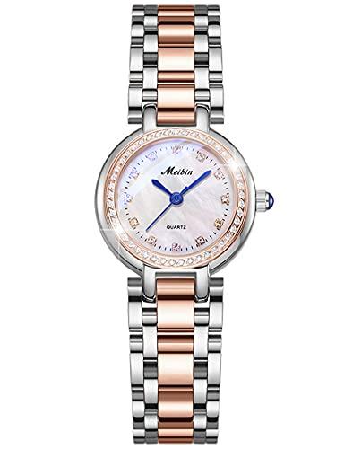 Reloj para Mujer Redondo Pequeño Dial Cara Cara Strap de Acero Inoxidable Reloj de Cuarzo para Mujer Between Colors