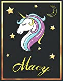 Macy: Personalized Unicorn Sketchbook For Girls & Women With Elegant Golden Name Frame and Stars - 8.5 x 11 inches, 100 Pages White Paper Black Cover ... Doodle Create and Taking Note ) MUST SEE !!!
