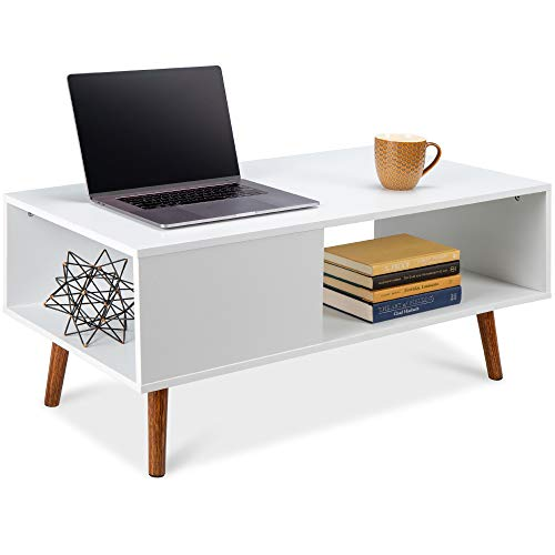 Best Choice Products Wooden Mid-Century Modern Coffee Table, Accent Furniture for Living Room, Indoor, Home Décor w/Open Storage Shelf, Wood Grain Finish - White/Brown