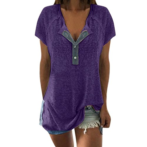 TOPUNDER Women Short Sleeve T Shirt Loose Tops Casual Blouse Button Tank Purple