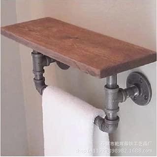MBYW high Load-Bearing Towel Rack Bathroom Towel Rail Storage Shelf Bathroom Towel Rack American Wrought Iron Wood Rack loft Style Old Bathroom Solid Wood, matt Black, 502025cm, Wooden Board 2 cm