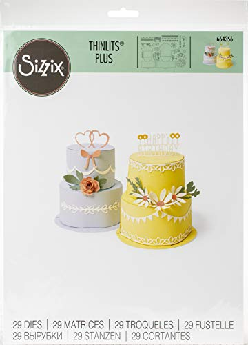 Sizzix Die 29 Pack Cake Set di Fustelle Thinlits Plus 29 pz 664356 Torta Pop-Up, Multicolore, Taglia unica