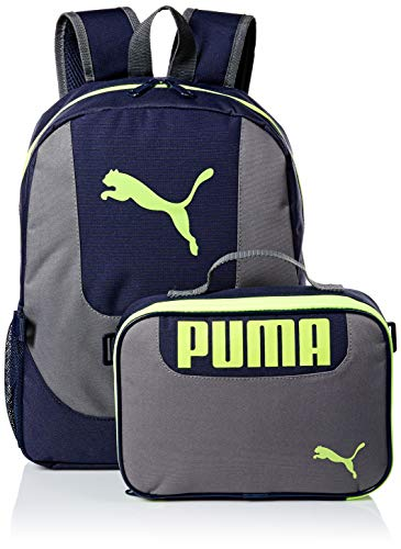 PUMA Big Kid's Lunch Box Backpack Combo, Blue/Yellow, Youth Size