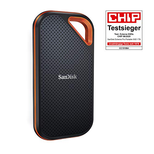 SanDisk Extreme Pro Portable SSD externe SSD 1 TB (externe Festplatte mit SSD Technologie 2,5 Zoll, 1.050 MB/s Lesen, NVMe SSD, IP55) grau
