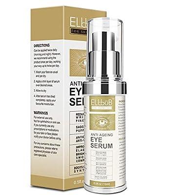 Anti Ageing Eye Serum - Eye Cream - Anti Wrinkle Eye Serum for Puffy Eyes, Dark Circles, Eye Bags, Crows Feet, Wrinkles,Reduces Wrinkles Saggy Skin Puffy Eyes by Elbbub Eu