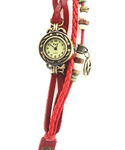 Beyond Dreams Vintage Leder Armband Uhr | Armbanduhr mit Anhängern für Damen Retro Vintage Design (Rot)