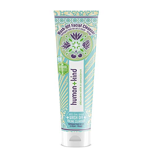 Human+Kind Wash-Off Facial Cleanser - All-in-One Formula Cleans, Removes Make-Up, and Exfoliates - Includes a Super-Soft Deep-Cleansing Cloth - Natural, Vegan Skin Care - 3.3 fl oz