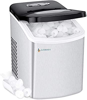 Countertop Ice Makers Machine for Home Bar RV, LITBOOS Portable Camper Icemaker, 9 Bullet Ice Cube Ready in 7 Mins, 26 lbs/24Hrs, Stainless Steel