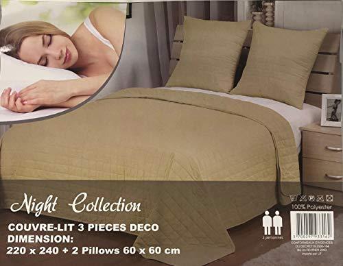 L22G Couvre-lit boutis uni Taupe pour Un lit de Deux Personnes en 220x240 cm + Les Deux taies d'oreiller 60x60 cm 100% Polyester