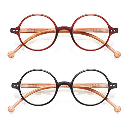 TISHUI Pack de 2 Gafas de Lectura 1.5 Gafas para Presbicia Hombres Mujeres,Gafas redondas Retro - femeninas de color azul claro