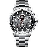 CRRJU Watch Men Chronograph Waterproof Classic Stainless Steel Dress Watches Business Stopwatch Fashion Men's Wrist Watches Quartz Auto Date Sport Black Silver Wristwatch (Silver)