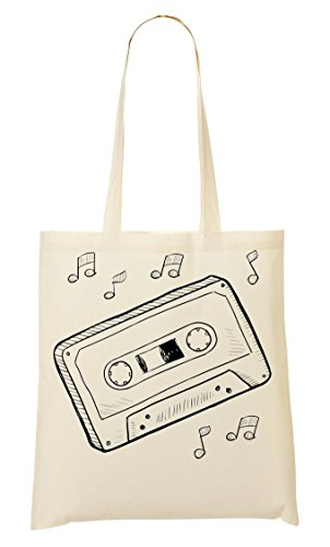 C+P Hipster Cassette Tape Notes Black Graphic draagtas boodschappentas